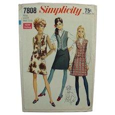 Vintage Simplicity #7808 1960's Mod Skirt & Vest Pattern Miss 8