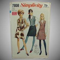 "Vintage Simplicity #7808 1960's Mod Skirt & Vest Pattern Miss 8 - Bust 31 1/2"""