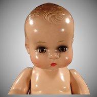 "Vintage 11"" Composition Toddler Doll - Adorable Face - Brown Sleep Eyes"