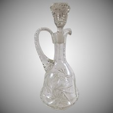 Vintage Glass Decanter Pitcher Designer Accent - Pinwheel Design with Applied Handle
