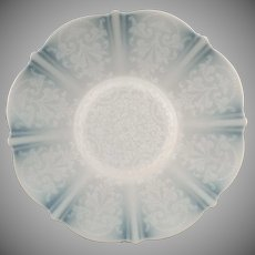 """Vintage American Sweetheart  Plate - 10 5/8"""" Plate - Monax White with Design - Mac Beth Evans Glass Co."""