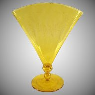 Vintage Steuben  #6287 Optic Ribbed Fan Vase with Etched Design - Signed