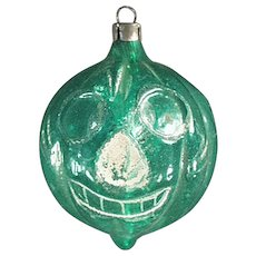 Vintage Christmas Ornament -  Old Blown Glass Jack-O-Lantern Pumpkin Halloween Ornament