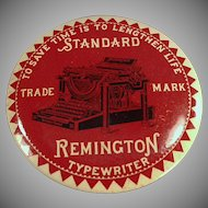 Vintage Advertising Paperweight - Large Old Celluloid Mirror with Remington Typewriter