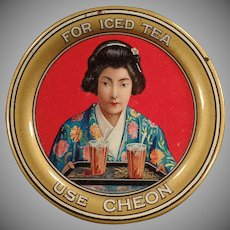 Vintage Advertising Tip Tray - Beautiful Old Tray with Oriental Girl - Cheon Tea