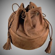 Vintage Collar Case - Old Leather Drawstring Bag for Men's Starched Collars