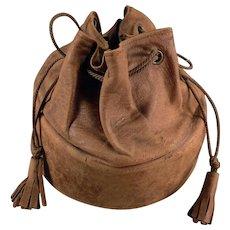 Vintage Collar Case - Old Leather Drawstring Bag for Men's Starched Collars