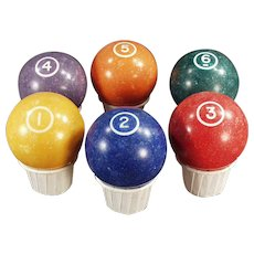 Vintage Pool Balls - Clay Billiard Balls - Single Circle 1 through 6