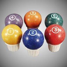 Vintage Pool Balls - Clay Billiard Balls - Single Circle 1 through 6