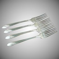 Vintage Silver Plate - 4 Oneida 1946 Queen Bess Dinner Forks