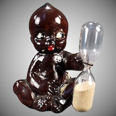 Vintage Black Memorabilia - Old Egg Timer - Black Kewpie Like Baby