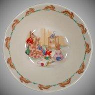 Vintage Royal Doulton - Old Bunnykins Series - Bowl with T.V. Time Design