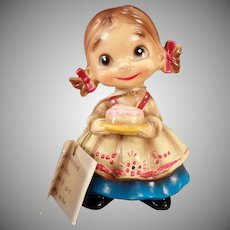 Vintage Josef Original - Old Wee Folks Figure – Little Girl with Birthday Cake