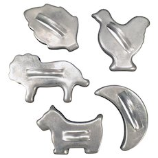 Vintage Aluminum Cookie Cutters - 5 Assorted Cutters including 3 Animals