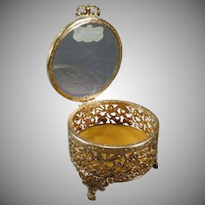 Vintage Stylebuilt Dresser Box - Old Vanity Trinket Holder with Beveled Glass – Original Label