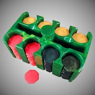 Vintage Green Catalin Chip Rack - Holder with 200 Octagon Bakelite Chips
