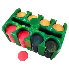 Vintage Poker Chips and Holder - Green Catalin Chip Rack with 200 Octagon Bakelite Chips
