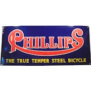 Vintage Porcelain Advertising Sign - Old Phillips Bicycles - Large Sign