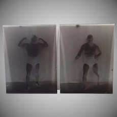 Two Vintage Glass Plate Negatives – Wrestler Tony Catalano – Boise Newspaper Clipping