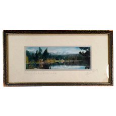 Vintage Hand Tinted Photograph - Old Framed Photo of Grand Lake Colorado by Standley