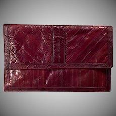 Vintage Saffron Eel Skin Handbag – Old Clutch -Beautiful Cordovan/Mahogany Eel Skin