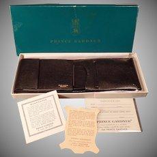 Vintage Leather Billfold – Old Prince Gardner Black Leather Wallet with Original Gift Box – 1960's