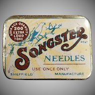 Vintage Phonograph Needle Tin - Songster with Nice Graphics