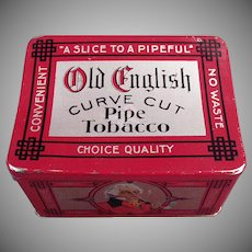 Vintage Tobacco Tin -  Old English Curve Cut Pipe Tobacco Tin with Nice Graphics