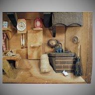Vintage Shadow Box - Old Miniature Kitchen Scene - 1970's Folk Art