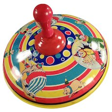 Vintage Tin Spinning Top - Old Chein Top with Circus Animals and Clowns