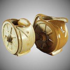 Vintage Frankoma Pottery - Old Wagon Wheel Cream and Sugar Bowl - Ada Clay