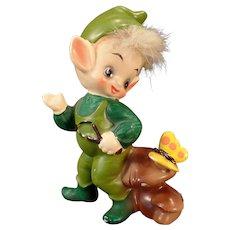 Vintage Josef Original – Elf and Butterfly – Old Pixie Figurine