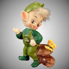 Vintage Josef Original – Elf and Butterfly – Old Pixie Figurine
