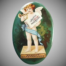 Vintage Celluloid Pocket Mirror - Old  Angelus Marshmallows Advertising - Colorful Cherub