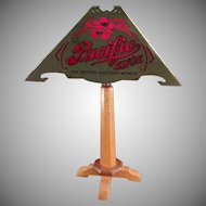 Vintage Advertising Table Lamp with Delicate Old Paper Shade - Atlantic and Pacific Shoes