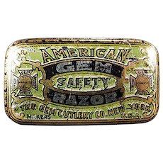 Vintage Razor Blade Tin -  Old American Gem Wedge Razor Tin