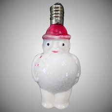 Vintage Glass Light Bulb - Old Christmas Tree Snowman Ornament