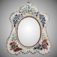 Vintage Micro Mosaic Small Frame with Floral Design and Pretty Shape