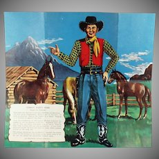 Children's Vintage Party Game Pin the Gun on the Cowboy - Like Donkey Tail