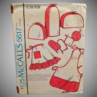 Vintage Apron Pattern - Old McCall's Pattern #5617 - Aprons and Kitchen Accessories - 1977