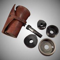 """Vintage Greenlee  737 Knockout Punch Set - 1/12"""" - 2"""" Leather Case"""
