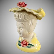 Vintage Head Vase - Glamour Girl Style Pottery Headvase in Yellow