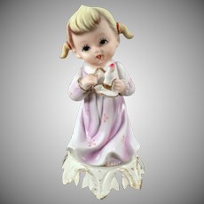 Vintage Night Light - Little Bisque Girl with Candle - Old Electric Lamp