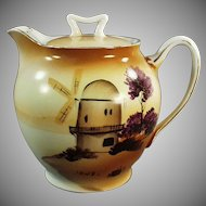 Vintage Hand Painted Tea Pot with Windmill Scene - Japan