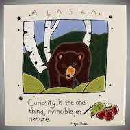 Old Ceramic Art Tile - Alaskan Bear Souvenir - Freya Stark