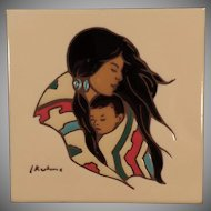Old Ceramic Art Tile - Leone Kuhne Native American Indian Mother and Child