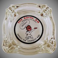 Vintage Royal Restaurant Advertising - Old Glass Ashtray Advertising The Royal of Garden City, Idaho