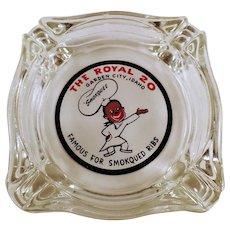 Vintage Royal Restaurant Advertising - Old Glass Ashtray Advertising The Royal of Garden City, Idaho