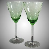 Two Vintage Wine Glasses - Green Optic Swirl with Clear Stems