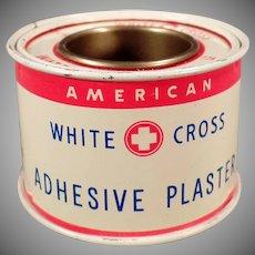Vintage White Cross Adhesive Plaster Tin - Old Medical Advertising